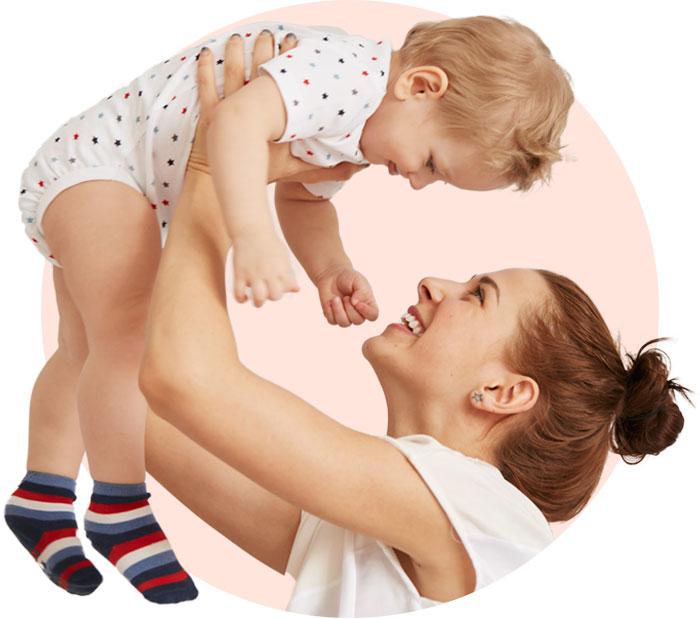 mother raising kid